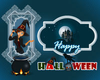 Happy Halloween design background with cartoon, witch girl and haunted castle. In the moonlight; Holidays template with witch doing witchcraft through a magic vector illustration