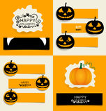 Happy Halloween design background, Cute note paper with Hallowee Stock Photo