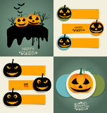 Happy Halloween design background and Cute note paper. Vector il Royalty Free Stock Photos