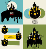 Happy Halloween design background and Cute note paper. Vector il Stock Photos