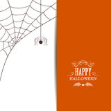 Happy Halloween Design. Illustration of a Spiderweb and a Spider on a White Background. Happy Halloween Design Stock Photography