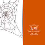 Happy Halloween Design. Illustration of a Spiderweb White Background. Happy Halloween Design Stock Photography