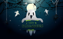 Happy halloween design illustration. White ghosts and bats flying on full moon background Royalty Free Stock Photo