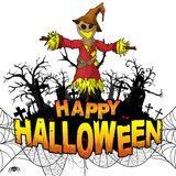 Happy Halloween Design template with scarecrow on white isolated background royalty free illustration