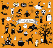 Happy Halloween designs set with various elements of holiday Royalty Free Stock Image