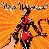 Happy Halloween devil girl follow me Stock Image