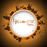 Happy Halloween with devildom in fog Royalty Free Stock Photography
