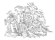 Happy Halloween Doodle (black & white) Royalty Free Stock Photos