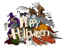 Happy Halloween Doodle. A hand drawn doodle illustration of Happy Halloween theme, filled with Halloween themed creatures and characters, isolated on a white Royalty Free Stock Photo