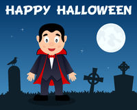 Happy Halloween Dracula & Cemetery Stock Photo