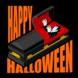 Happy Halloween. Dracula in open coffin. Illustration for terrib Stock Photos