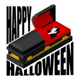 Happy Halloween. Dracula in open coffin. Illustration for terrib Royalty Free Stock Photos