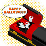 Happy Halloween Dracula screams from grave. Vampire in an open c Stock Photo