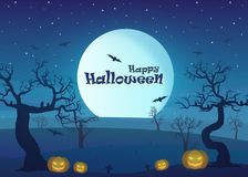 Happy Halloween in drought area landscape at night with dead tree, pumpkins, and full moon royalty free illustration