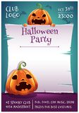 Happy Halloween editable poster with angry and scared pumpkins with parchment on dark blue background with bats. Happy royalty free stock photo