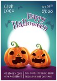 Happy Halloween editable poster with scared and angry pumpkins on dark blue background with full moon. Happy Halloween stock photography