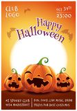 Happy Halloween editable poster with smiling, scared and angry pumpkins on orange background with full moon. Happy stock photos