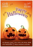 Happy Halloween Editable Poster With Scared And Angry Pumpkins On Orange Background With Full Moon. Happy Halloween Stock Photo