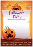 Happy Halloween Editable Poster With Smiling And Scared Pumpkins With Parchment On Orange Background With Bats. Happy Royalty Free Stock Photos