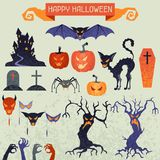 Happy Halloween elements and icons set for design Royalty Free Stock Photography