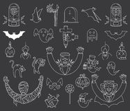 Happy Halloween elements white on black Royalty Free Stock Photography