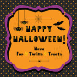 Happy Halloween emblem greeting card on polka dots background. Cute Happy Halloween emblem greeting card on polka dots pattern background Royalty Free Stock Photography