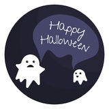 Happy halloween emblem with two little ghosts and text bubble Stock Image