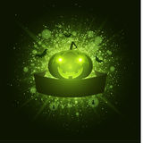 Happy Halloween . Empty ribbon banner. Abstract bright flash of light with green lights. Green cartoon evil pumpkin, spiders and b Royalty Free Stock Photography