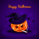 Happy Halloween. Evil pumpkin with witch hat.Halloween pumpkin. The holiday, pumpkins. Vector illustration for celebration. Royalty Free Stock Image