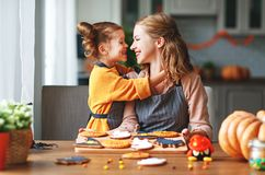 Happy Halloween! family mother and daughter getting ready for royalty free stock photos