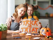Happy Halloween! family mother and daughter getting ready for stock images