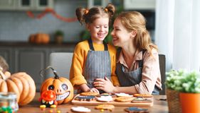 Happy Halloween! family mother and daughter getting ready for royalty free stock photo
