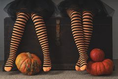 Happy halloween! Female feet in stockings with an orange pumpkin. Royalty Free Stock Images