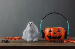 Happy Halloween festival decorations and music concept. Royalty Free Stock Images