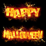 Happy Halloween Fire Text. Fire Happy Halloween text in burning flames Royalty Free Stock Image