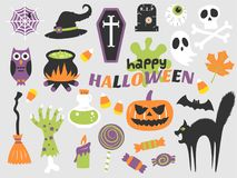 Happy halloween flat design illustration Royalty Free Stock Photos