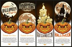 Happy Halloween flyer or poster. Happy Halloween Pumpkin face flier set vector illustration