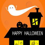 Happy Halloween. Flying bat. Haunted house roof attic loft. Light on boarded-up windows. Cat arch back. Monster spider Pumpkin Can Royalty Free Stock Images