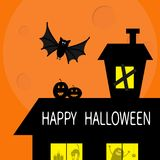 Happy Halloween. Flying bat. Haunted house roof attic loft. Light on boarded-up windows. Cat arch back. Monster spider Pumpkin Can Stock Image