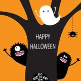 Happy Halloween. Flying ghost, hanging spider dash line web, monster, eye eyeballs in hollow. Black tree silhouette. Boo spooky cu. Te cartoon character set Royalty Free Stock Image