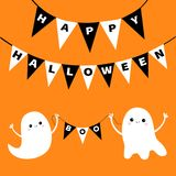 Happy Halloween. Flying ghost spirit holding bunting flag Boo. Two white scary ghosts. Cute cartoon spooky character. Smiling face. Hands. Orange background Stock Images