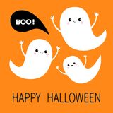 Happy Halloween. Flying ghost spirit set. Three scary white ghosts. Boo Cute cartoon spooky character. Smiling Sad face, frighteni. Ng scaring hands. Orange Royalty Free Stock Photo