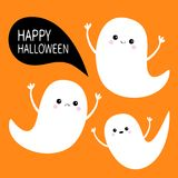 Happy Halloween. Flying ghost spirit set. Three scary white ghosts.   Royalty Free Stock Photo