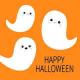 Happy Halloween. Flying ghost spirit set. Three scary white ghosts. Cute cartoon spooky character. Smiling Sad face. Orange backgr. Ound. Greeting card . Flat Royalty Free Stock Photography
