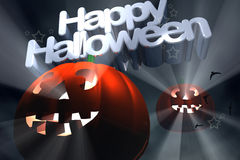 Happy Halloween flying pumpkins Stock Photos