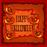 Happy Halloween frame with pumpkins vector Royalty Free Stock Images
