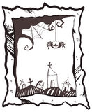 Happy Halloween frame with smiling spider, web, tombstones and church Stock Images