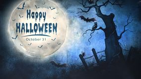 Happy Halloween Full Moon Message 4K Loop. Features a full moon in a grunge sky with an old dead tree and an owl with bats flying and an animated Happy stock video footage