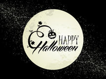 Happy Halloween full moon and pumpkin illustration Royalty Free Stock Image