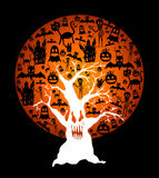 Happy Halloween full moon and spooky tree illustration EPS10 file. Halloween full moon with elements inside and spooky tree over black background. EPS10 Vector royalty free illustration